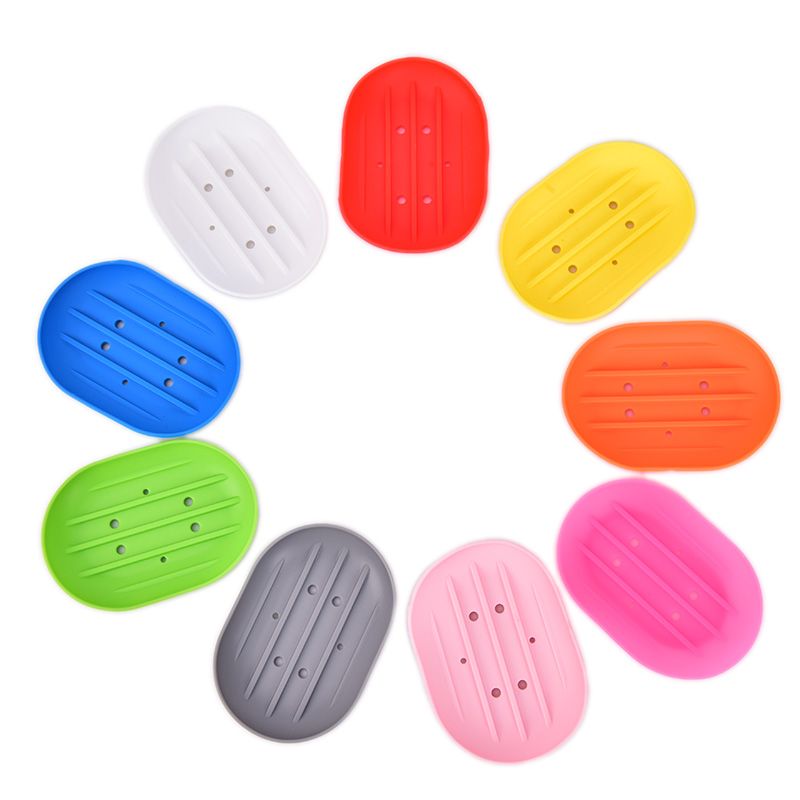 1pc Fashion Silicone Flexible Soap Dish Plate Bathroom Soap Holder Travel Holder Dish Candy Color Bathroom Soap Dish