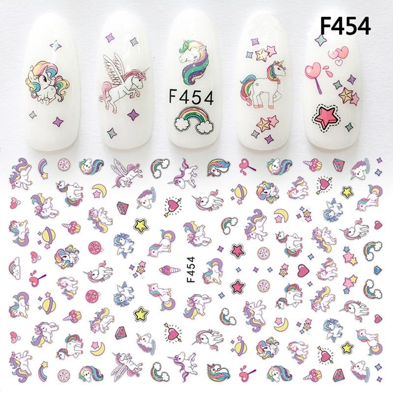 1 лист F454 стикер для дизайна ногтей клейкий Единорог Лавандовый цветок супер тонкий 3D Маникюр украшения обертывания кончики для ногтей Накл...