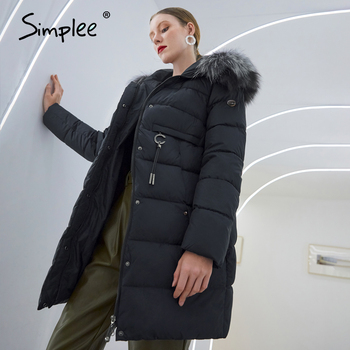 Simplee Warm elegant fur collar women coat jacket Casual new design pocket parka Fashion navy female winter windproof jacket2020