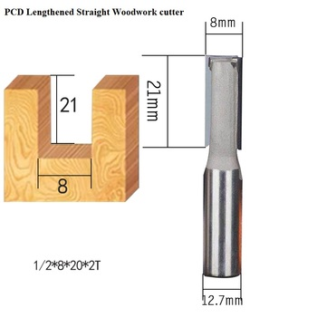 PCD diamond 8mm milling wood cutter woodwork cleaning bottom router bits lathe tools for milling wood MDF stone marble granite
