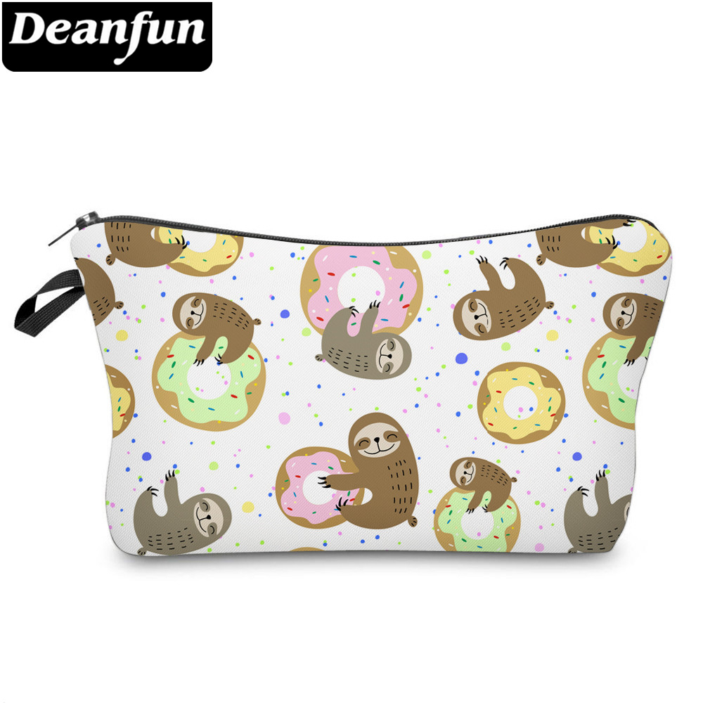Deanfun Printing Sloth Cosmetic Bag Donut Colorful Cute Makeup Bag Waterproof Organizer 52009