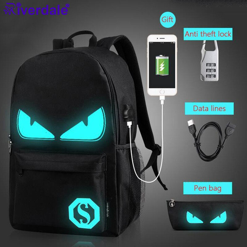 Fashion Backpacks Student Luminous Animation School Bags For Boy Girl Teenager USB Charge Computer Anti-theft Laptop Back pack title=
