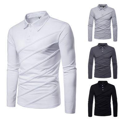 Men's polo shirt autumn and winter new fashion european size men's casual polo shirt stitching men's undershirt P045 3