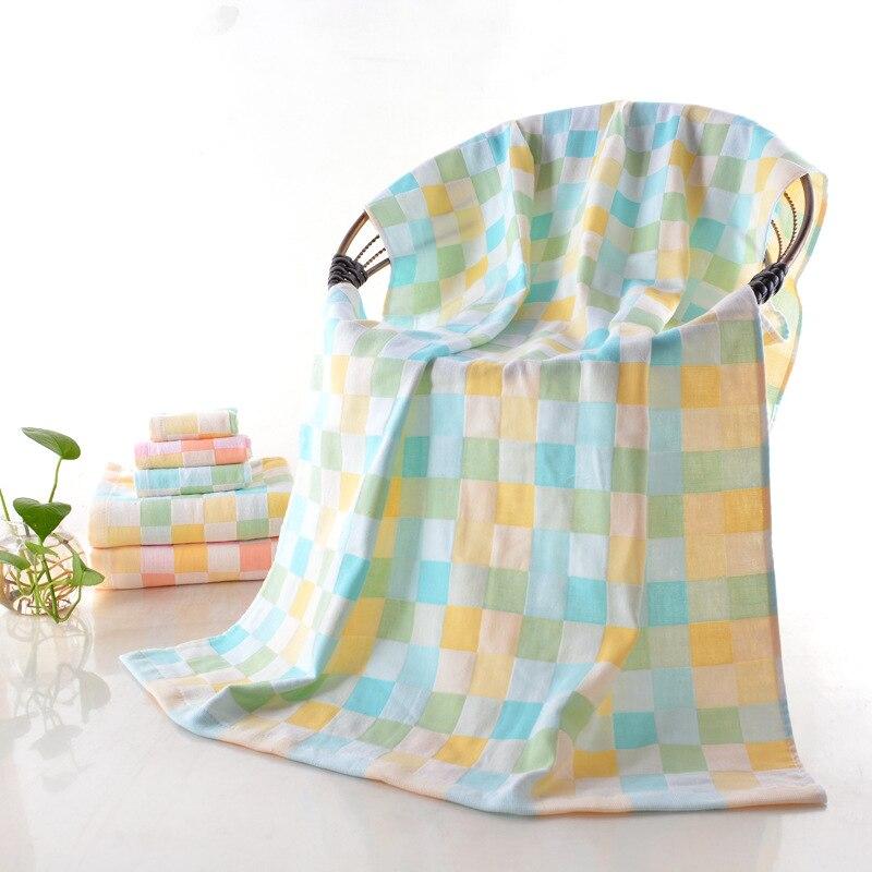 Double Layer Pure Cotton Gauze Bath Towel Infant 70 * 140cm Color Plaid Fabric Baby Jacquard Blanket