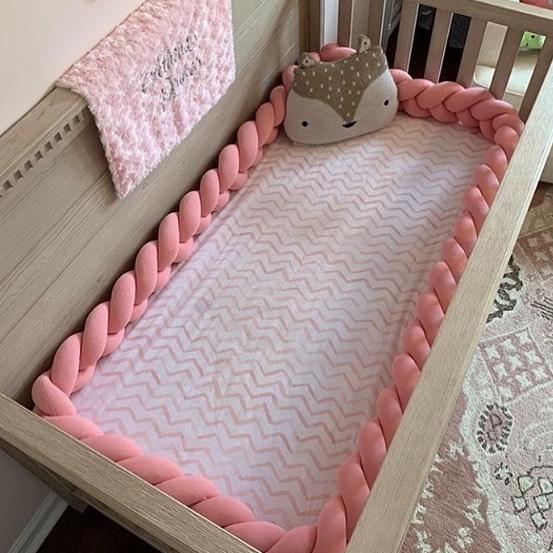 1M/2M/3M Newborn Baby Crib Bumper Bed Bumper Knot Pillow Cushion Braid Baby Mantinels Bed Baby Room