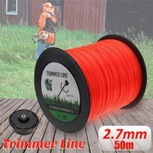 50m Trimmer Line Orange Square Brushcutter Strimmer Trimmer Cord Line Wire 2.7mm For STIHL Garden Tool Parts