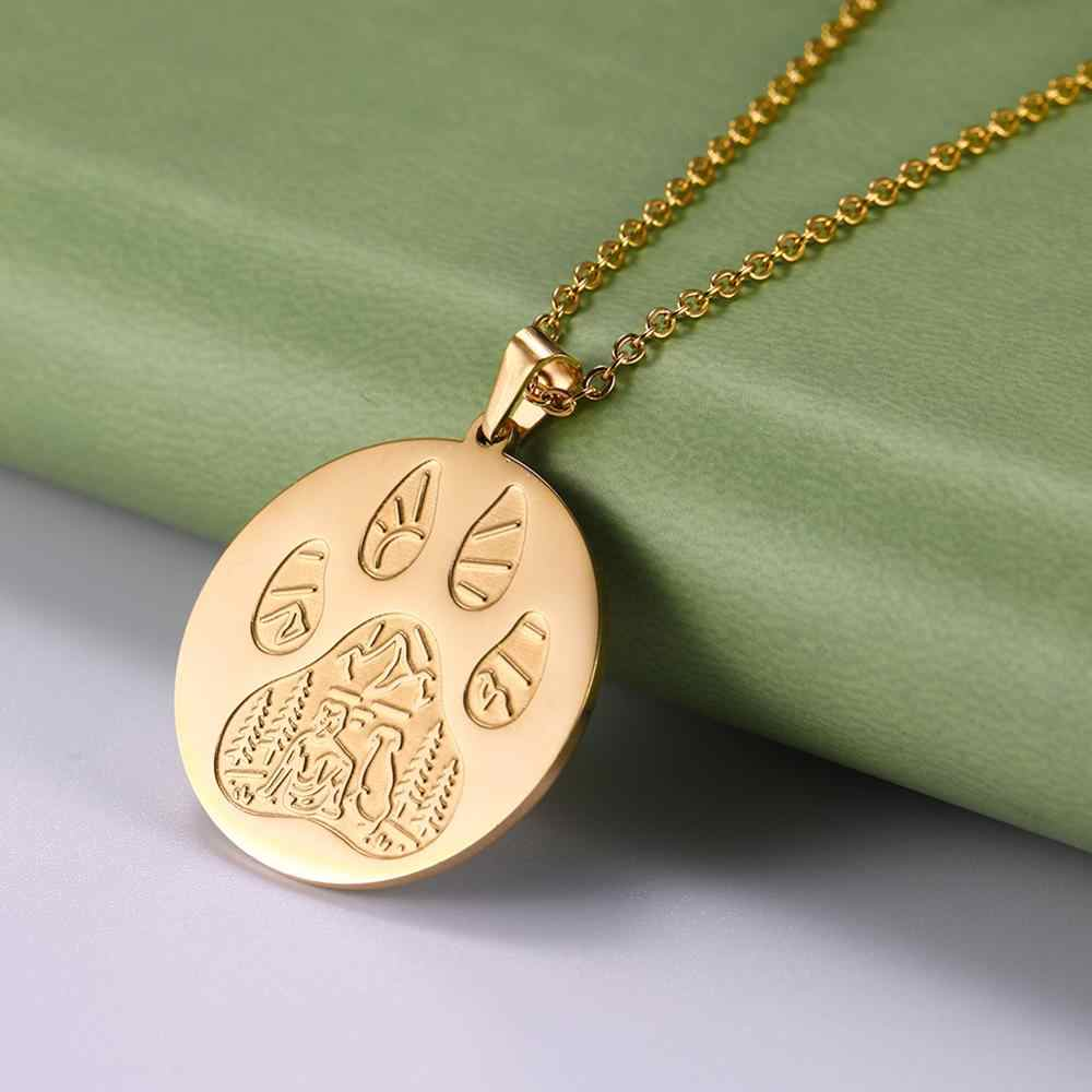 Myshape 316L Gold Color Stainles Steel Dog Head Dog Paw Wolf Paw Forest Animal Pendant Jewelry Woman and Man Jewelry