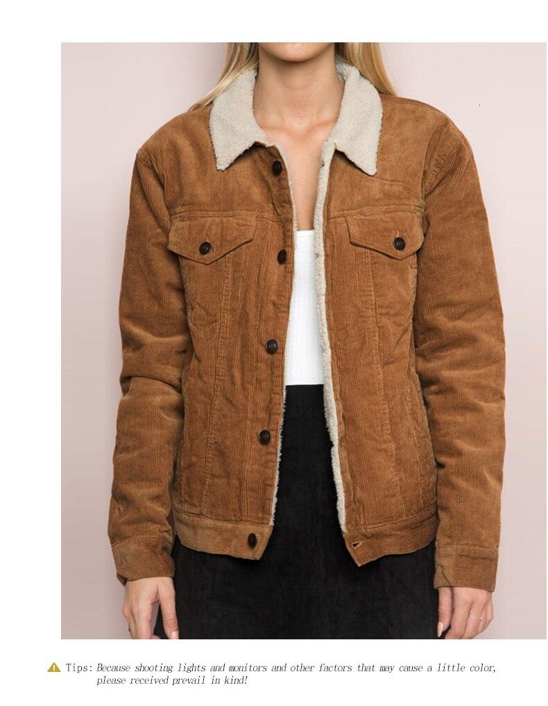 H1eca9c9bab0b40f39de6947c51855e86e HDY Haoduoyi Winter Casual Brown Corduroy Long Sleeve Turn-down Collar Denim Jacket Single Breasted Basic Women Warm Cotton Coat