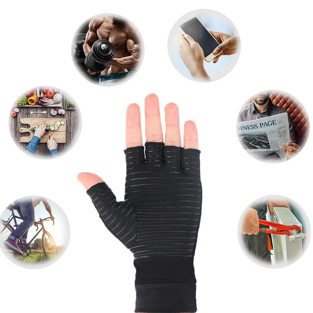 1 Pair Womens Mens fiber Therapy Compression Gloves Hand Arthritis Joint Pain Relief Half Full Finger Therapy Gloves 3
