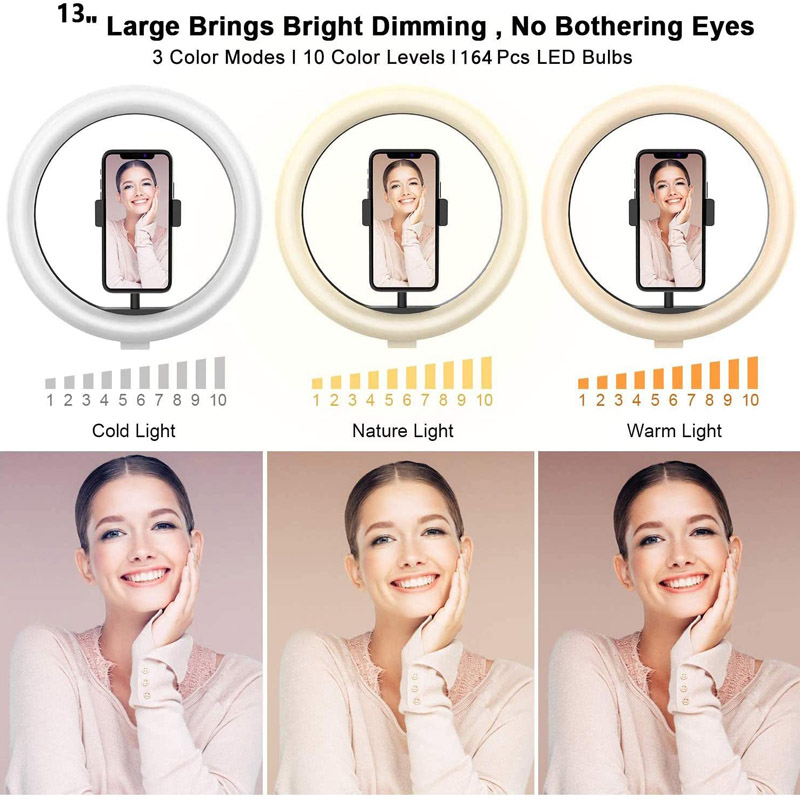 H1ecab19784b446279dd948dae40f19a5l Video Lights Dimmable Light Selfie LED Ring Light USB Ring Lamp With Tripod Stand Rim Of Light To Make TikTok Youtube ringlight