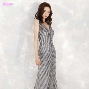 Image 5 - 2020 New Arrival Elegant V Neck Gray Long Evening Dresses Mermaid Sequined Beads Dress Party Evening Gowns