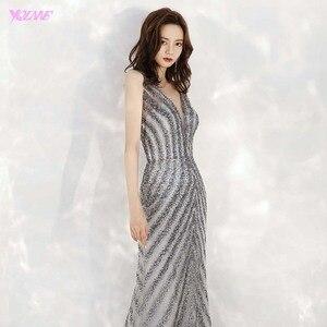 Image 5 - 2020 새로운 도착 우아한 v 목 회색 긴 이브닝 드레스 인어 스팽글 비즈 드레스 파티 이브닝 가운