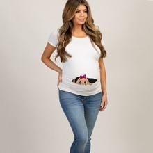 Летняя футболка для беременных с забавным мультяшным принтом; топы; Одежда для беременных; большие размеры; футболка с коротким рукавом для беременных женщин; Лидер продаж