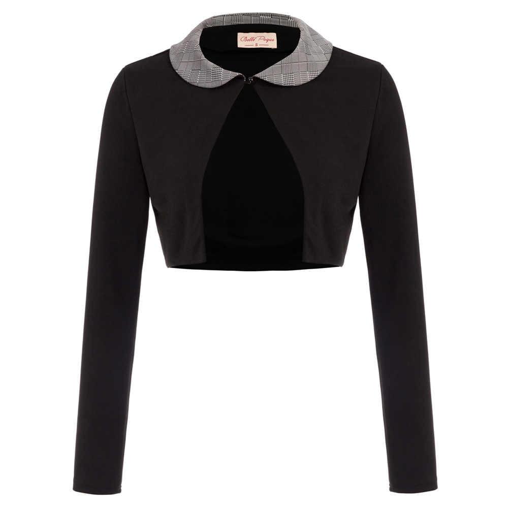 BP Womens Retro Long Sleeve Contrast Lapel Collar Bolero Shrug Cropped Coat