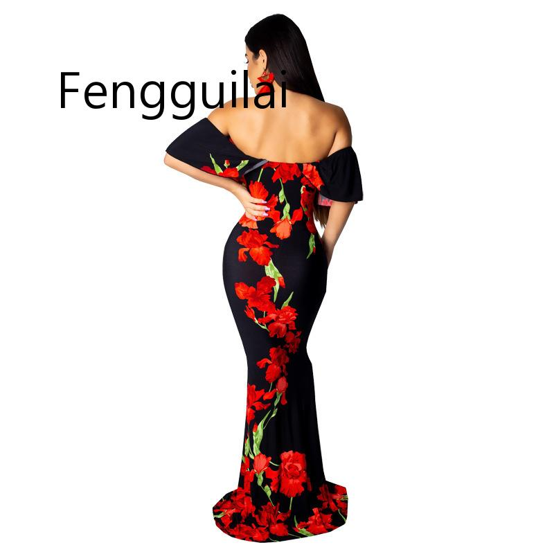 Red black Sexy Women Boho Style Long Dress Off Shoulder Beach Dresses Floral Print Vintage Flower Maxi Dress Vestidos De Festa in Dresses from Women 39 s Clothing