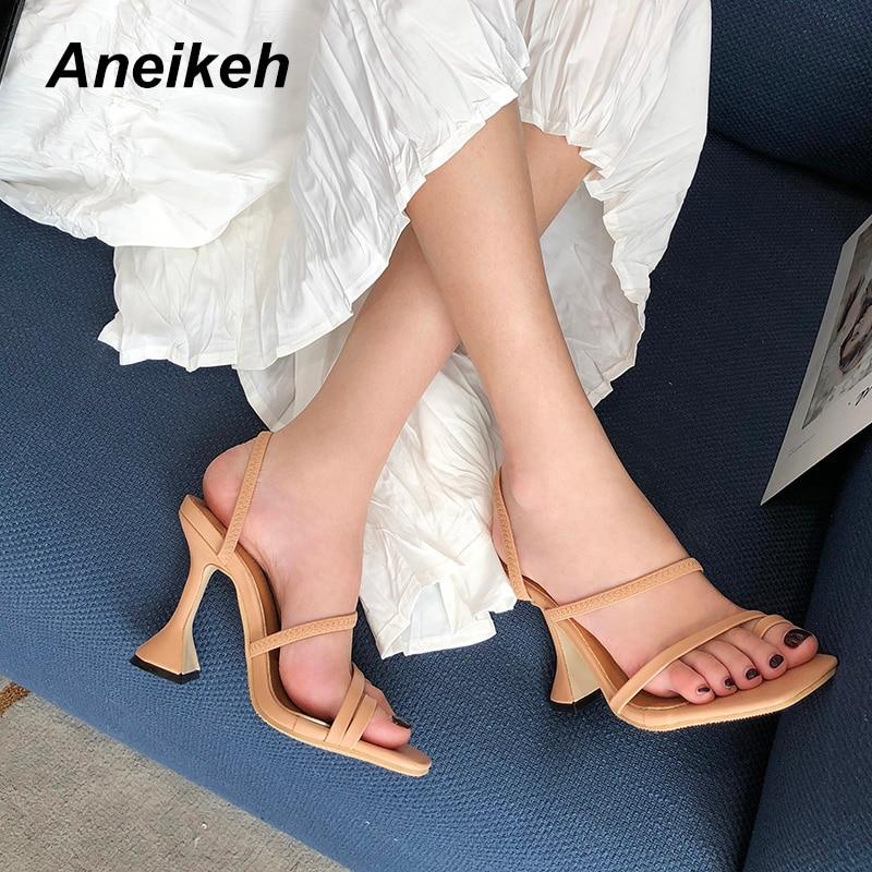 Aneikeh NEW Sexy Flock Toe Clamping Peep Toe Transparent High Heel Slippers Summer Fashion Slip On Shallow Thin Heels Slides