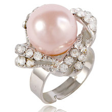 Fashion Vintage Opening Adjust Rings For Women Pink Big Pearl Ring Female Jewelry Silver Rings women Engagement Ring Femme Gifts(China)