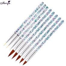 Monja 8 pièces Nail Art Liner peinture brosse Kit cristal liquide acrylique UV Gel Extension rayure dessin sculpture stylo manucure ensemble