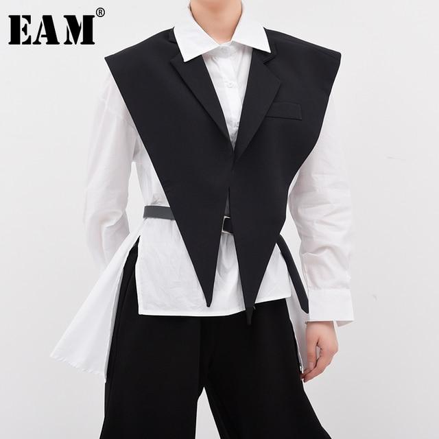 [EAM] Women Loose Fit Black Brief Irregular Split Joint Big Size Vest New Lapel Sleeveless  Fashion  Spring Summer 2021 1U52701 1