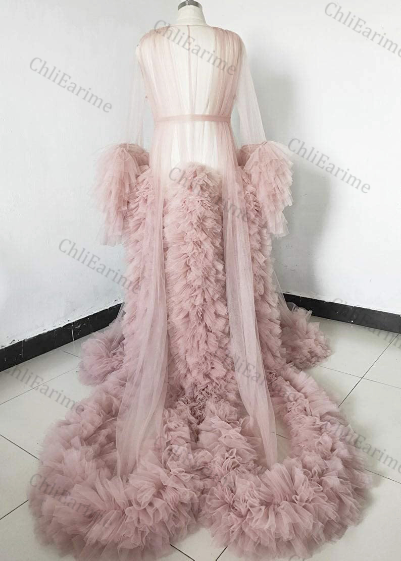 Ladies Dressing Gown Perspective Sheer Long Tulle Robe Puffy Pregnancy Photoshoot