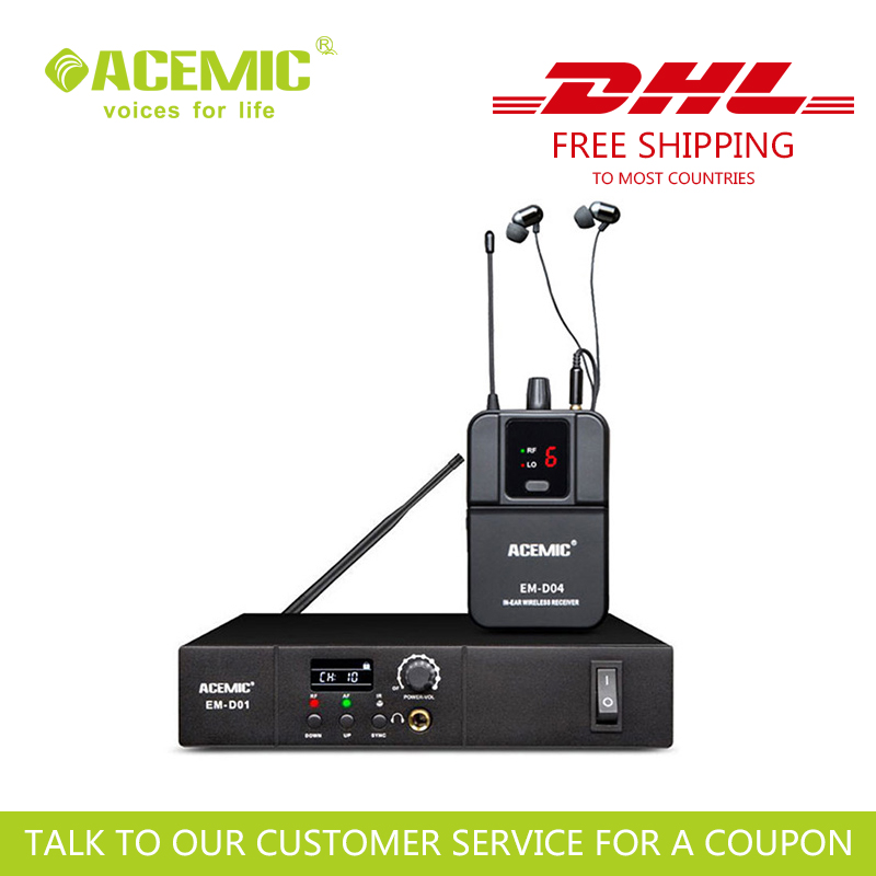 FREE & FAST SHIPPING Acemic EM-D01 Single Channel WIRELESS IN EAR MONITOR SYSTEM