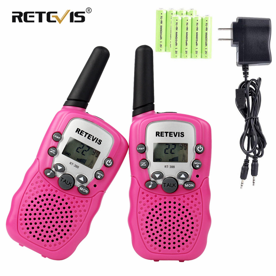 Retevis RT388 Kids Walkie Talkie 2pcs Radio With Charger Battery UHF 2 Way Radio Portable VOX CTCSS/DCS A9109