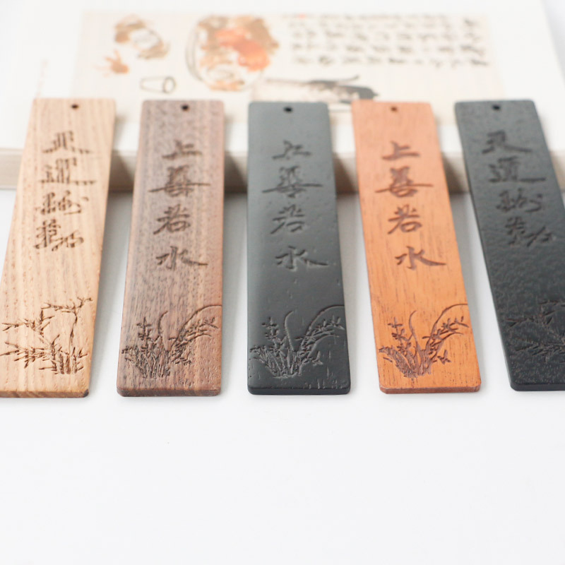 Bookmark Wooden Bookmark Customizable Manufacturers Solid Wood Carving Chinese-style Literature And Art Creative Campus Scenic A