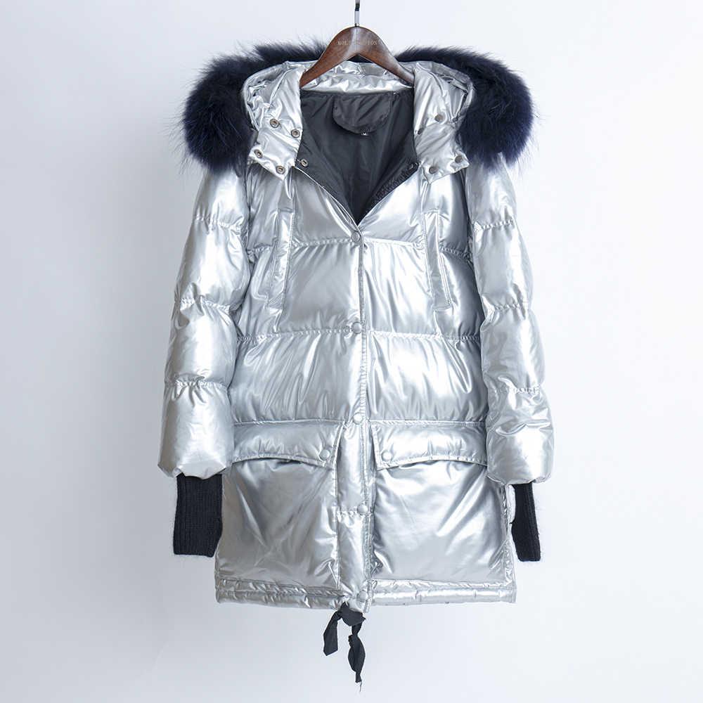 Женские пуховики с воротником из натурального меха, Женская длинная куртка с капюшоном 2019, зимнее женское пуховое пальто размера плюс, свободные глянцевые куртки, верхняя одежда