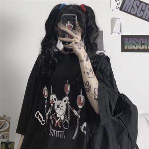 Gothic Punk Summer Loose Vintage women tshirt Ulzzang rabbit Street Harajuku cartoon Print Short Sleeve dropshipping clothes