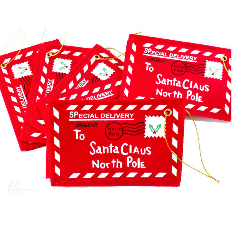 10pcs Letter Candy Bag To Santa Claus Felt Envelope Embroidery Christmas Decoration Ornament Children Kids Gifts