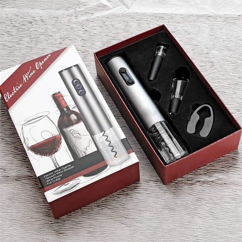 อุปกรณ์เสริมไวน์อัตโนมัติ Corkscrew ไวน์ชุดเปิดขวดไวน์ Stopper,Wine Pourer และเครื่องตัดฟอยล์ของขวัญกล่อง