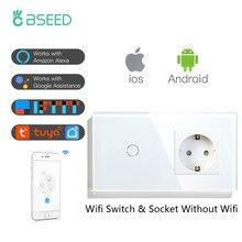 Сенсорный светильник ель света BSEED с Wi-Fi, 1/2/3 клавиши, 1/2/3 каналов, умный настенный выключатель Smart Life APP, стеклянная панель с розеткой европейс...
