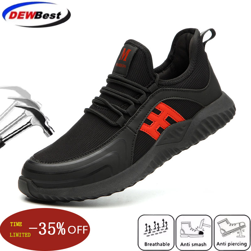 Steel toe Safety Boots for Men Plus size Puncture Proof Breathable Construction Work Shoes Male Waterproof Casual Safety Shoes image