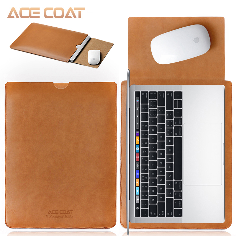 ACECOAT Microfiber PU Leather Sleeve Protector Bags for Macbook Air Pro Retina13 12 15 16 Laptop Sleeve Business No Zippercovers for maclaptop coverbag for macbook air -