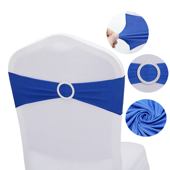 100pcs High Quality Spandex Chair Band Bow With Round Ring For Banquet Party Decoration Event Wedding Elastic Chair Sashes