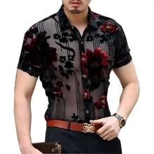 Men Velvet Blouse Shirt Top Floral Pleuche Tops Chemise Formel Formel Imprimé Slim