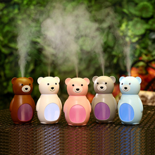 160ml Lovely Bear USB Air Humidifier LED Lights Ultrasonic Car Humidifiers Mist Maker Mini Home Desktop Air Purifier gxz energy bottle usb ultrasonic humidifier 1200mah battery led lights air humidifiers mist maker mini home cup air purifier