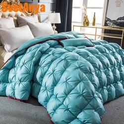 Edredón de lujo de plumón de ganso en 3d acolchado rey de la colcha reina manta gruesa de invierno