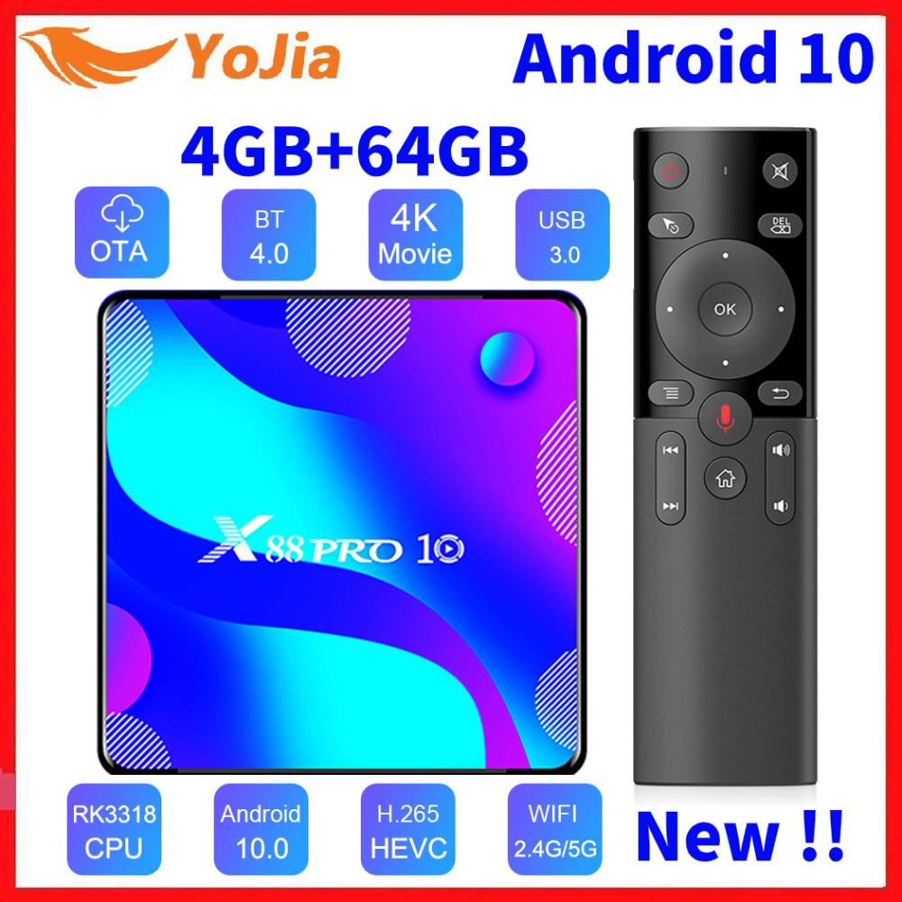 Smart TV Box Android 10 4GB RAM 64GB ROM RK3318 USB3 Google Android 10.0 Media Player Netflix Youtube 4K Set Top Box X88 PRO 10