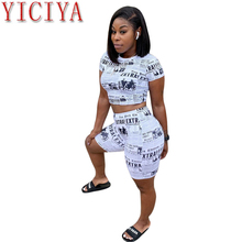 2020 Summer Newspaper Print Casual Two Piece Set Women Tracksuit O Neck Short Sleeve Crop Top T Shirt  Shorts Fashion Clothing new women fashion letter printed colorful striped short sleeve t shirt female summer sexy crop top korean o neck casual t shirt