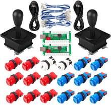Botões do joystick da arcada 2 jogo do jogador diy parte o joystick oval do estilo americano + tipo de happ botões de arcada 1-1/8