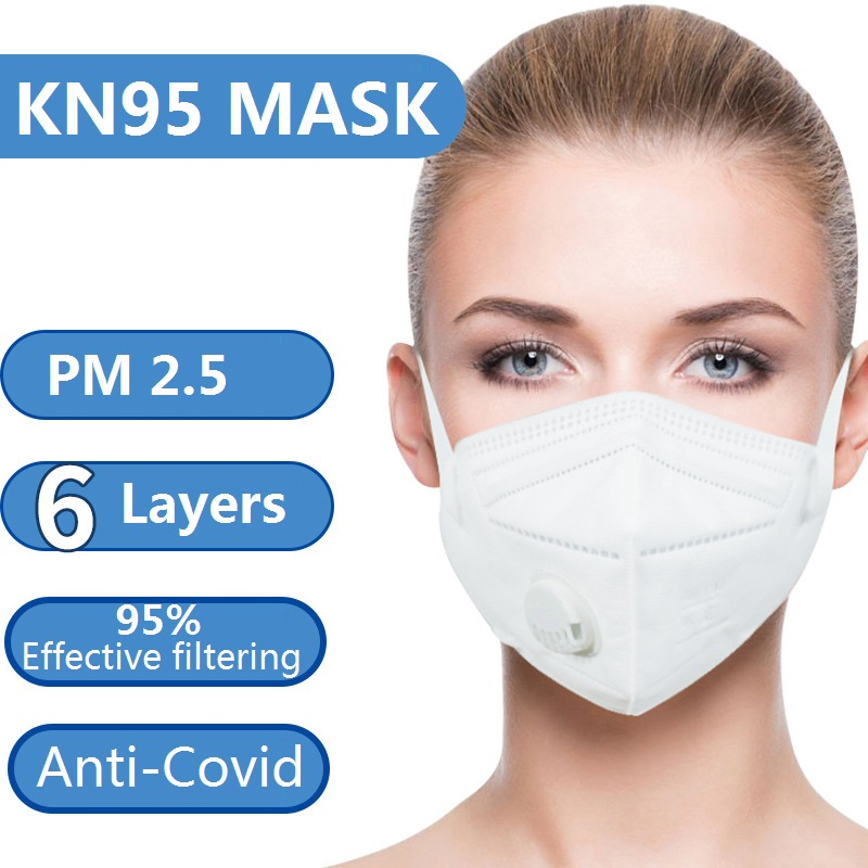 Kn95 Mask With Valve 6 Layers Filter Anti Virus Fog Anti Dust Particles Face Masks PM2.5  Unisex KN 95 Mouth Mask Fast Ship