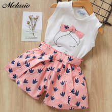 Melario print Kids Girls Clothing Sets Dot Summer Baby Clothes Sleeveless T-Shirt Shorts Suit 2Pcs Children Suits