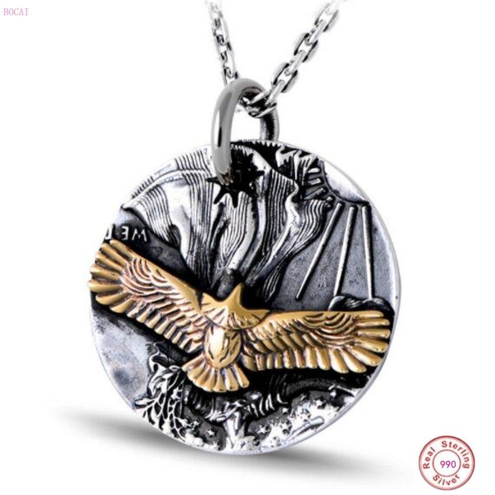 Кулон BOCAI S999 из стерлингового серебра, ретро тайское серебро, мужской кулон с орлом, индивидуальное серебряное ювелирное изделие для мужчин