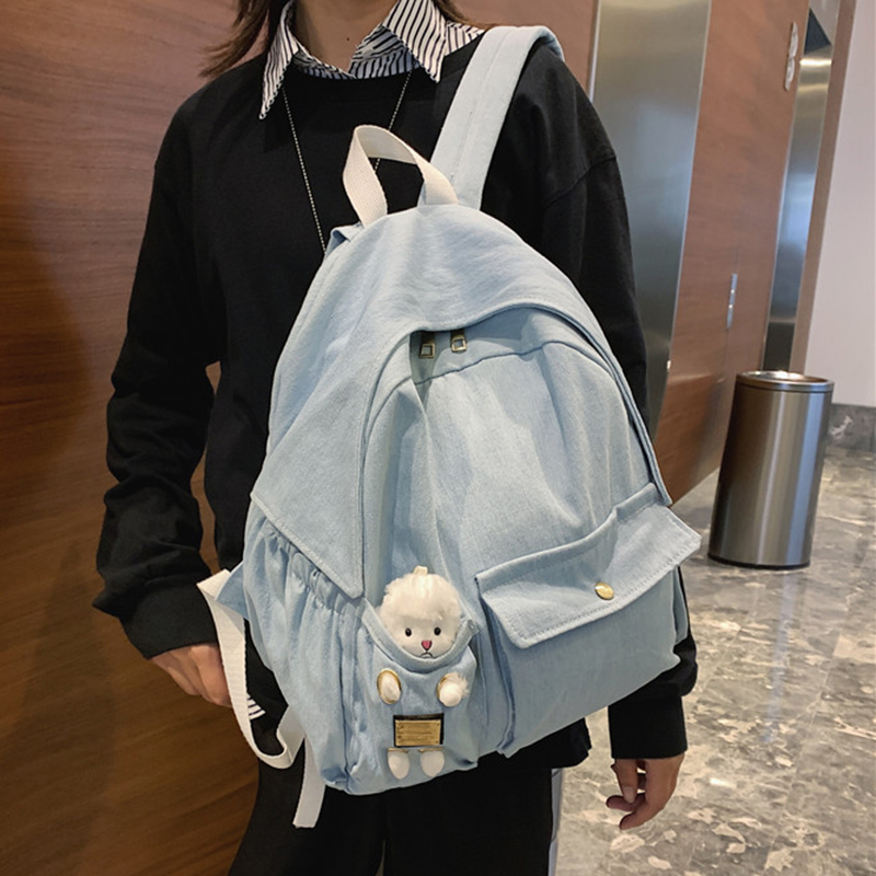 HOCODO Women Backpack Fashion Denim Blue Canvas Backpack Female School Bags For Teenage Girls Cute Rucksack Student Shoulder Bag