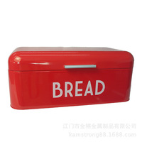 Cross Border Supply of Goods Amazon Hot Sales Metal Large Size Flat Cover Bread Box European Style Kitchen Storage Box Factory D
