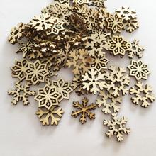 50 sztuk naturalne drewno Craft akcesoria do dekoracji na boże narodzenie wisiorek wiszący Ornament Xmas płatki śniegu wystrój nowego roku domu 62857 tanie tanio CN (pochodzenie) Christmas Ornaments