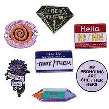 Broche de orgullo Neutral, 7 estilos diferentes, Pin de banda no binario, él, ella, ella, insignia de botón