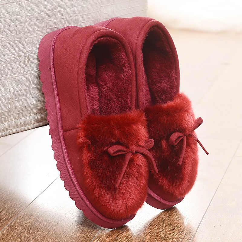 Nơ Bộ Lông Mùa Đông Dép Giày Đế cho Nhà Nữ Phẳng Dễ Thương Trơn Lông Trượt Cho Nữ Pantoffels Dames Mùa Đông Ấm Áp