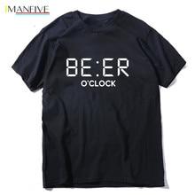 THE IMANFIVE 100% cotton funny BEER OCLOCK print men T shirt cool summer tshirt male o-neck t-shirt mens tee shirts